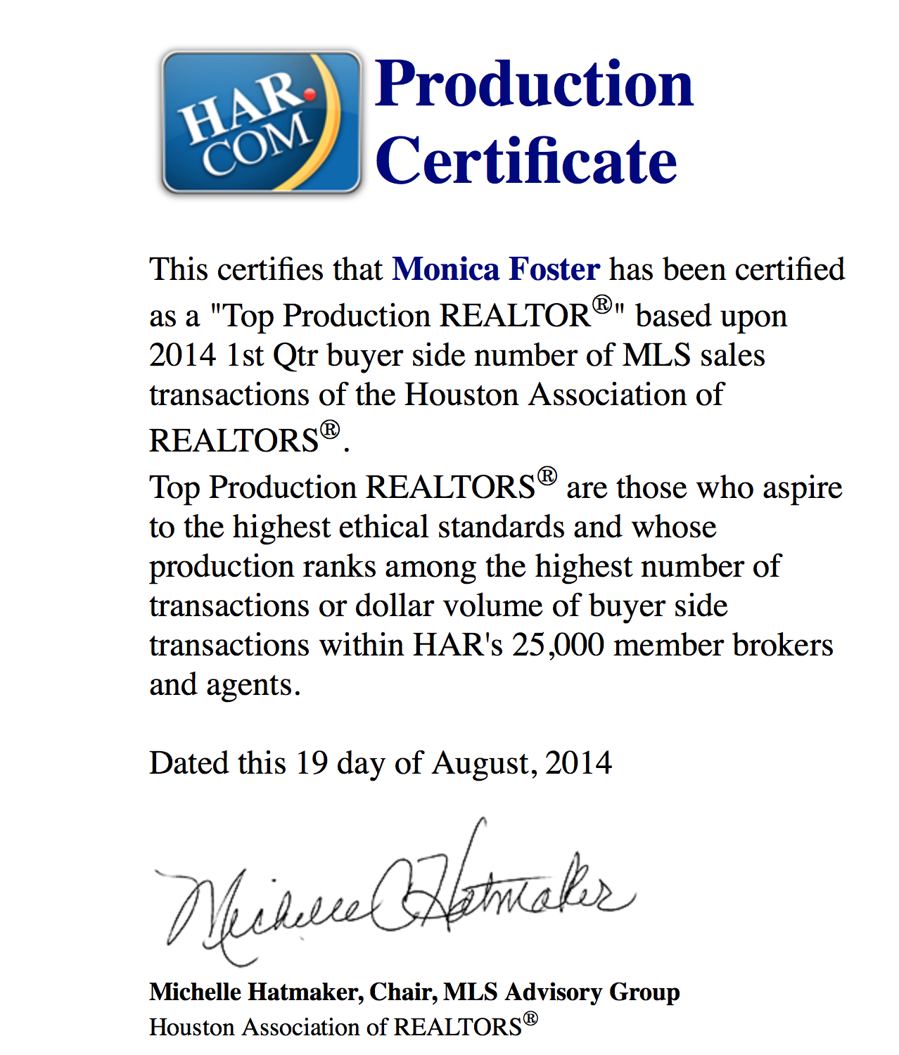 HAR Top Production 1st Qtr 2014 Buyer Sides
