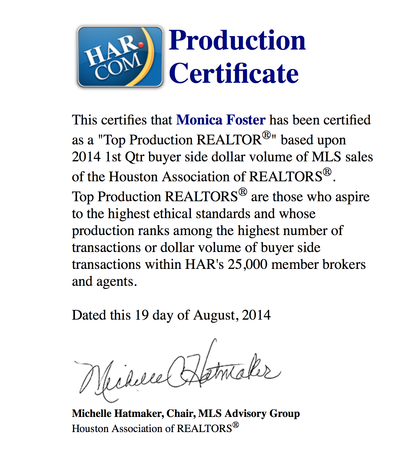 HAR Top Production 1st Qtr 2014 Buyer Volume