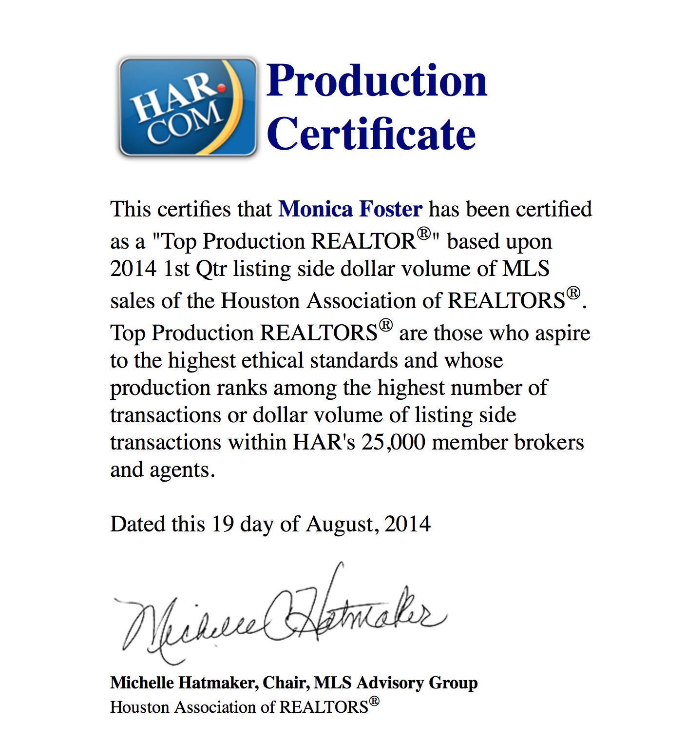 HAR Top Production 1st Qtr 2014 Listing Volume