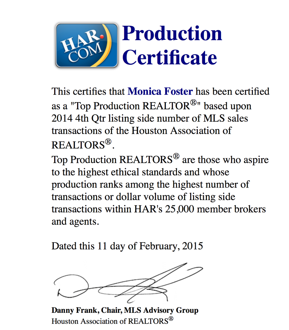 HAR Top Production 4th Quarter 2014 Listing Sides